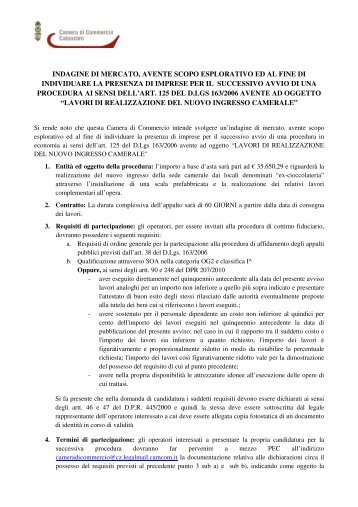 Indagine di mercato - CCIAA di Catanzaro - Camera di Commercio