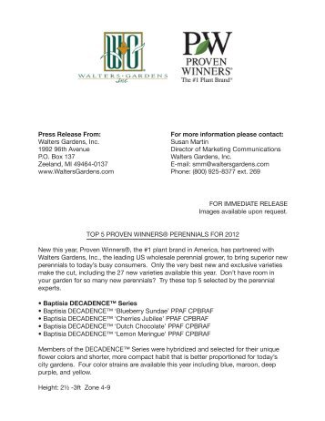Press Release From: Walters Gardens, Inc. 1992 ... - Proven Winners