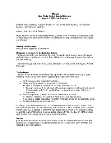 Minutes New Media Centers Board of Directors August 3, 2001, San ...