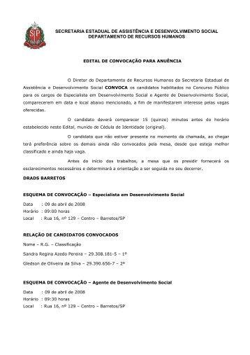 EDITAL CONVOCAÇÃO.09-04-2008 - Secretaria de ...