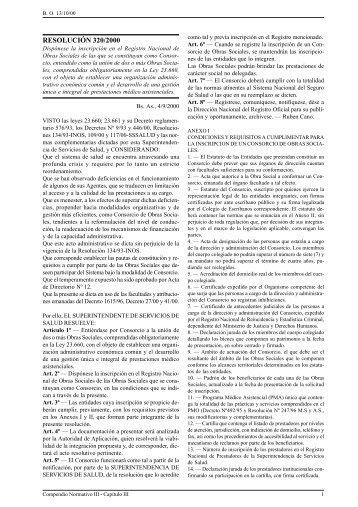 Nº 320/00 - Superintendencia de Servicios de Salud