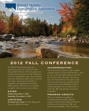 2012 FALL CONFERENCE - Expropriation Law Centre