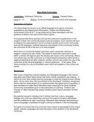 Dene Kede Curriculum Jurisdiction: Northwest Territories Contact ...