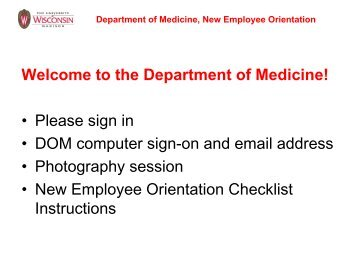 Welcome to the Department of Medicine! • Please sign in • DOM ...
