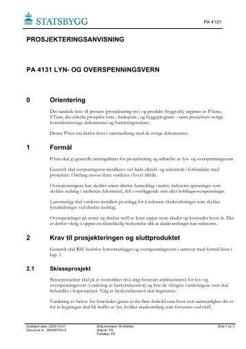 PROSJEKTERINGSANVISNING PA 4131 LYN- OG ... - Statsbygg