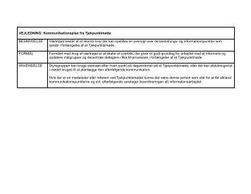 Kommunikationsplan fra Tjekpunktmøde: - Personaleweb