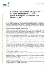 COMMUNIQUÉ DE PRES SE 1 opticien français sur 2 a ... - Mgen