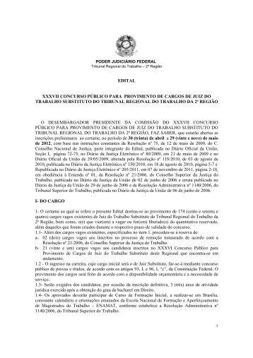 EDITAL XXXVII CONCURSO PÚBLICO PARA PROVIMENTO DE ...