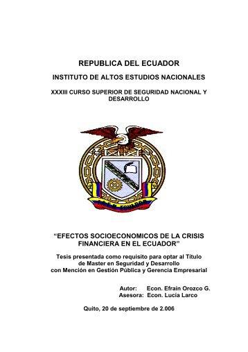 republica del ecuador - Repositorio Digital IAEN - Instituto de Altos ...