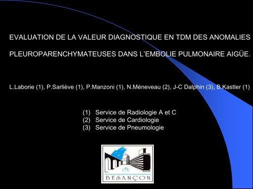 evaluation de la valeur diagnostique en tdm des anomalies ...
