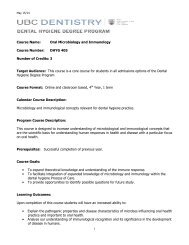 dental hygiene 405 - UBC Dentistry