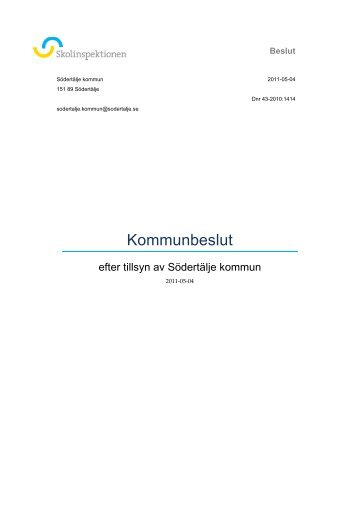 Skolinspektionens rapport - Södertälje kommun