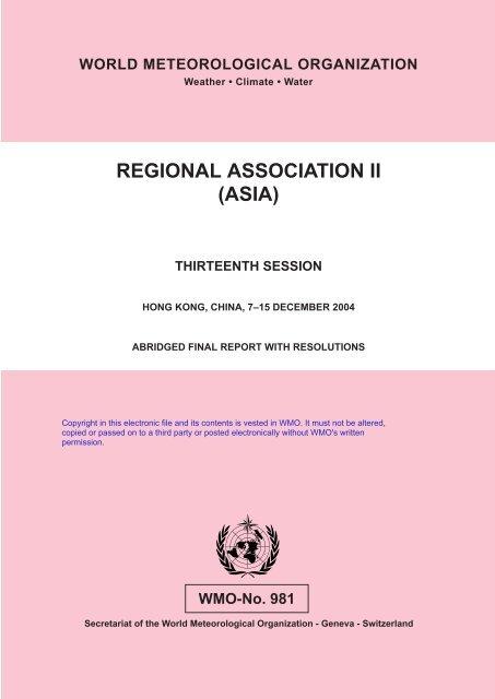 Regional Association II (ASIA) - E-Library - WMO