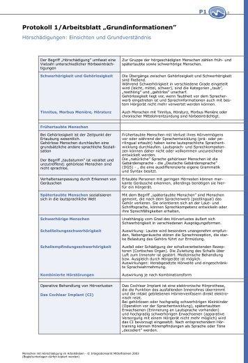 """Protokoll 1 / Arbeitsblatt """"Grundinformationen†- bbwonline"""