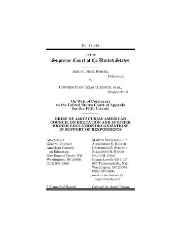 Amicus Curiae Brief to U.S. Supreme Court in Fisher v. University of ...