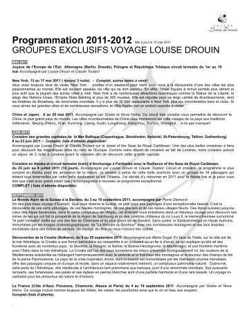 groupes exclusifs voyage louise drouin - Agence voyage Louise ...
