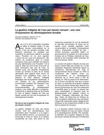 La gestion intégrée de l'eau par bassin versant - Développement ...