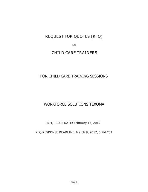 Request For Quotes Rfq Child Care Trainers For Child Care Training