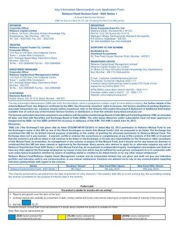 Key Information Memorandum cum Application Form - Rrfinance.com