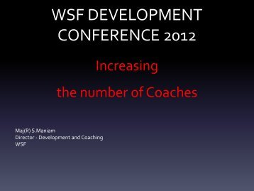 Increasing the number of Coaches - World Squash Federation