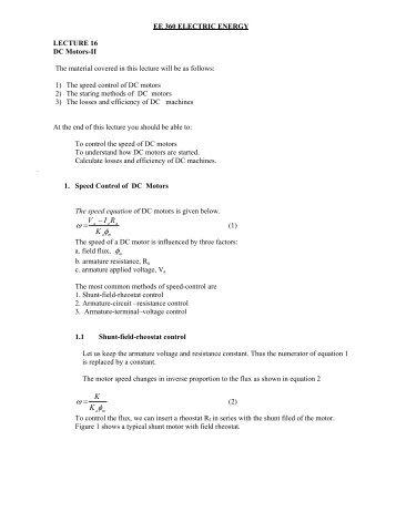 Lec 16 DC Motors II(pdf) - KFUPM Open Courseware