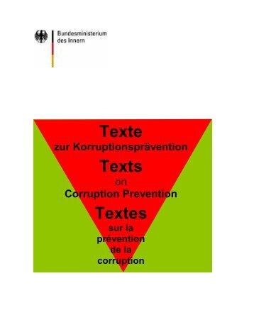 Texte zur Korruptionsprävention Texts - Transparency International