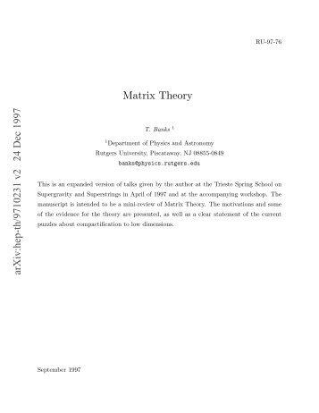 Matrix Theory - Free