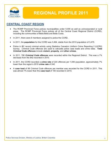 Regional Profile 2011 - Central Coast Region - Ministry of Justice ...