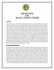 the institute for black catholic studies - Xavier University of Louisiana