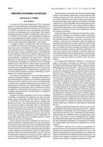 Decreto-Lei n.° 72/2009 de 31 de Março