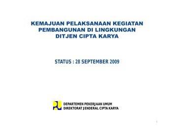 28 september 2009 - Ditjen Cipta Karya - Departemen Pekerjaan ...