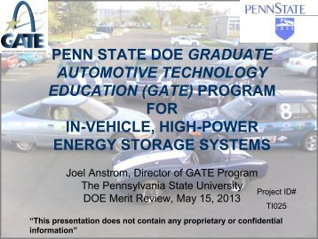 (gate) program for in-vehicle, high-power energy storage systems