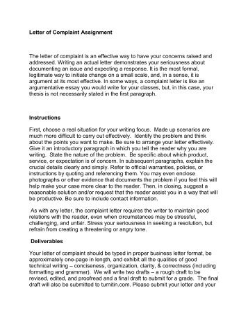 Ela  Functional Writing Assignment Business Letter Complaint