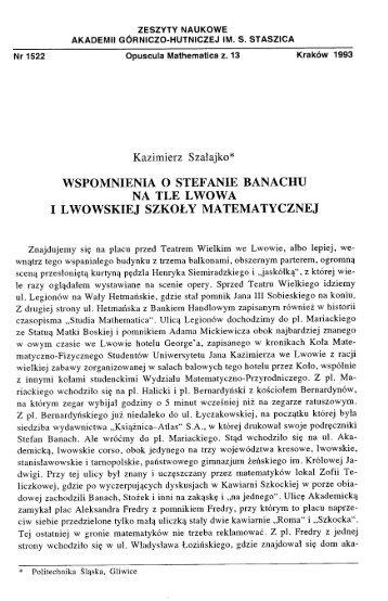 Kazimierz Szałajko* - Uniwersytet im. Adama Mickiewicza