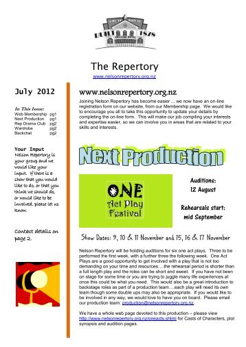 July 2012 - Nelson Repertory Theatre