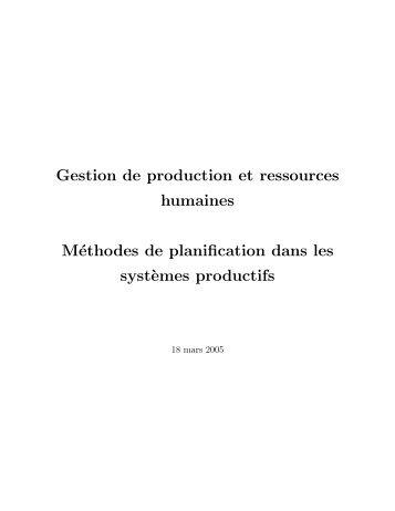 Gestion de production et ressources humaines Méthodes de ...