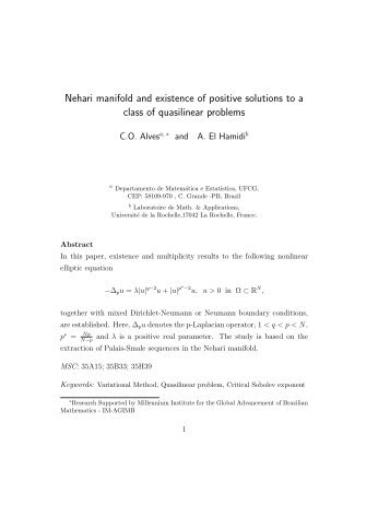 Nehari manifold and existence of positive solutions to a class of ...