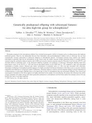 Genetically predisposed offspring with schizotypal features: An ultra ...