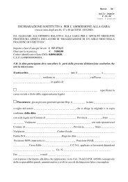 dichiarazione sostitutiva per l'ammissione alla gara - Comune di ...
