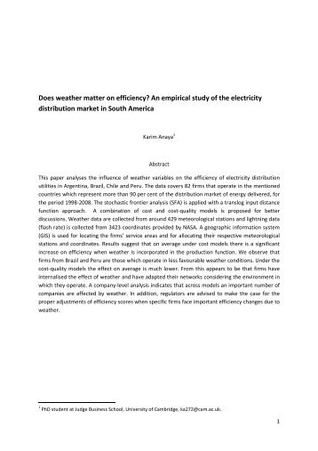 Does weather matter on efficiency? An empirical study of the ...