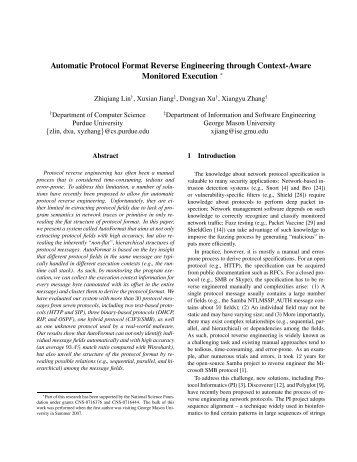 Automatic Protocol Format Reverse Engineering ... - Internet Society