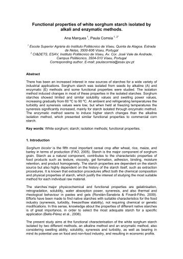 Functional properties of white sorghum starch isolated by alkali and ...