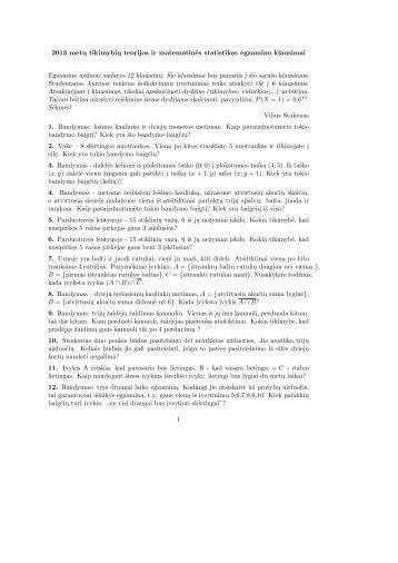 2013 metų egzamino klausimai