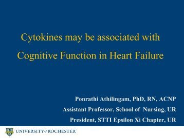Cytokines may be associated with Cognitive Function in ... - IUPUI