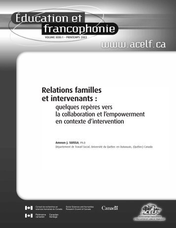 Relations familles et intervenants - acelf