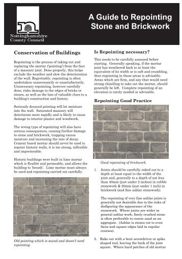 A Guide to repointing Stone and Brickwork