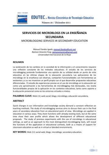 Servicios de microblogs en la enseñanza secundaria - Comunidad ...