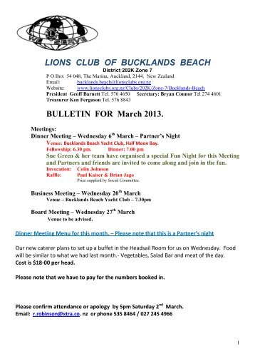 March 2013 - Lions Clubs New Zealand