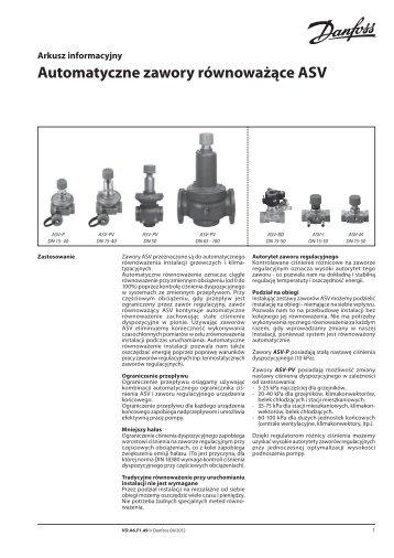 Automatyczne zawory równoważące ASV - Danfoss