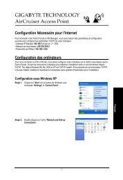 Configuration Nécessaire pour l'Internet Configuration ... - GIGABYTE